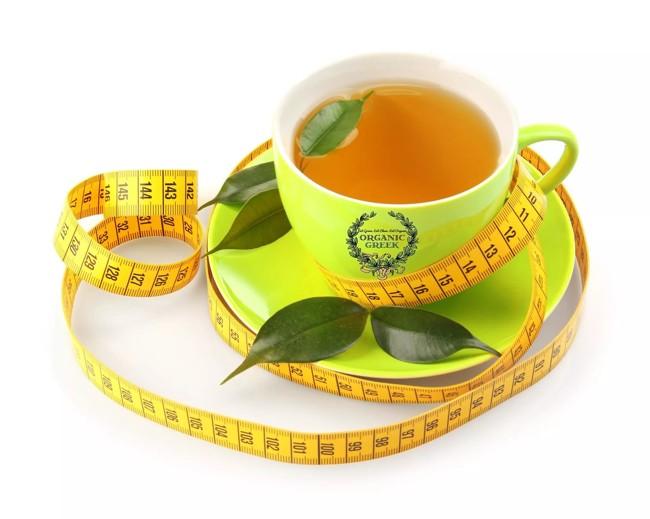 zielona herbata i centymetr