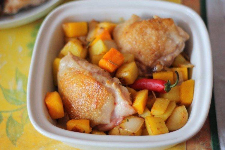 Indyk z ziemniakami i dynią